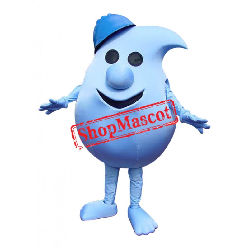 Superb Blue Water Droplet Mascot Costume