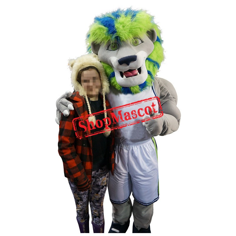 Green & Blue Hair Lion Mascot Costume