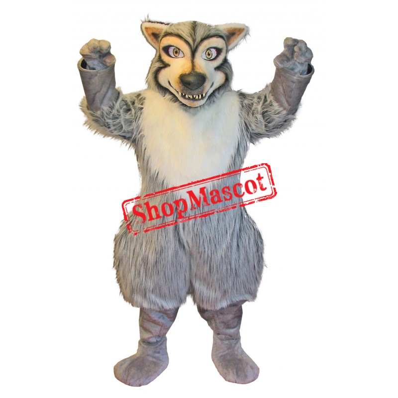Superb Fierce Realistic Wolf Mascot Costume