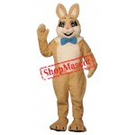 Friendly Brown Easter Bunny Mascot Costume