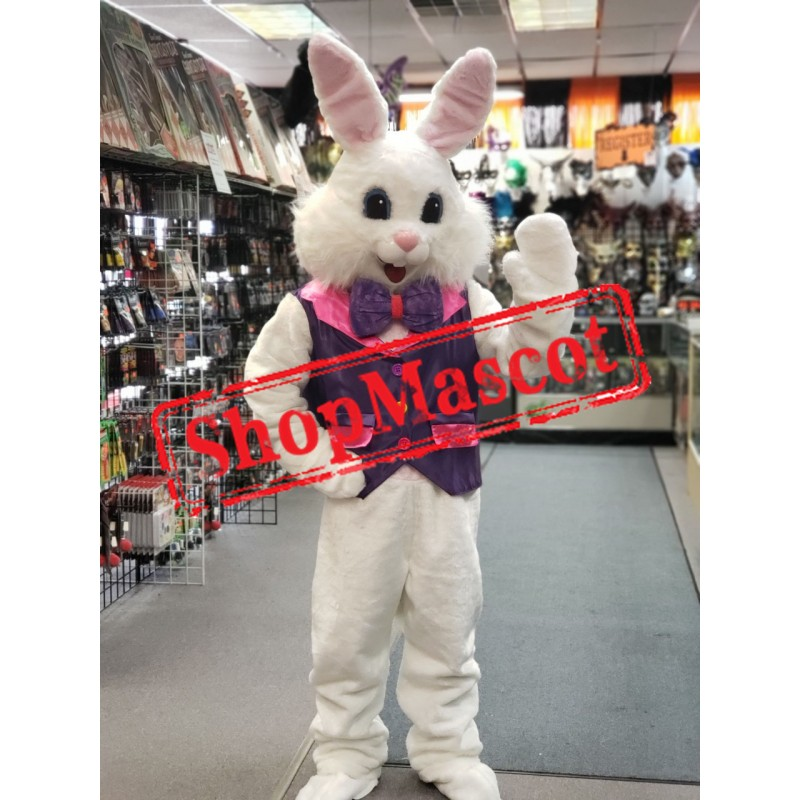 Friendly Purple Suit Easter Bunny Mascot Costume