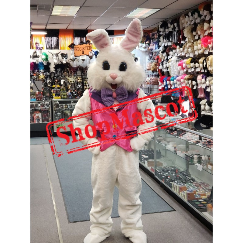 Friendly Pink Suit Easter Bunny Mascot Costume