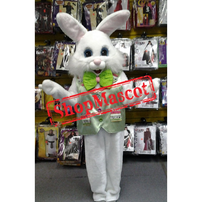 Friendly Green Suit Easter Bunny Mascot Costume