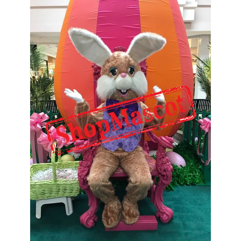Friendly Lightweight Brown Bunny Mascot Costume