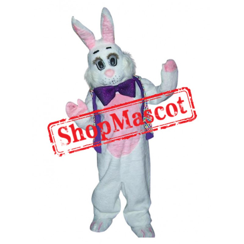 Superb Friendly White & Pink Bunny Mascot Costume
