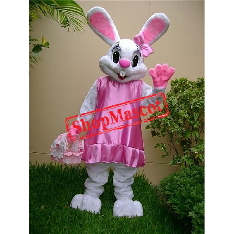 Pink Dress Easter Bunny Mascot Costume