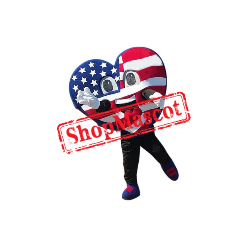 US Flag Heart Mascot Costume