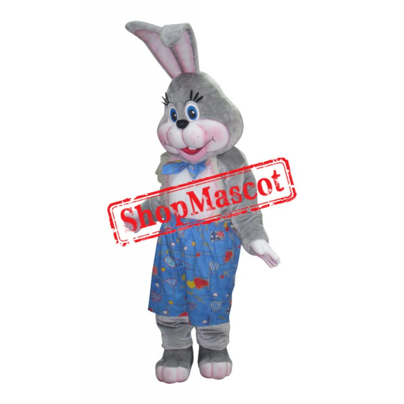 Grey & Pink Easter Bunny Mascot Costume