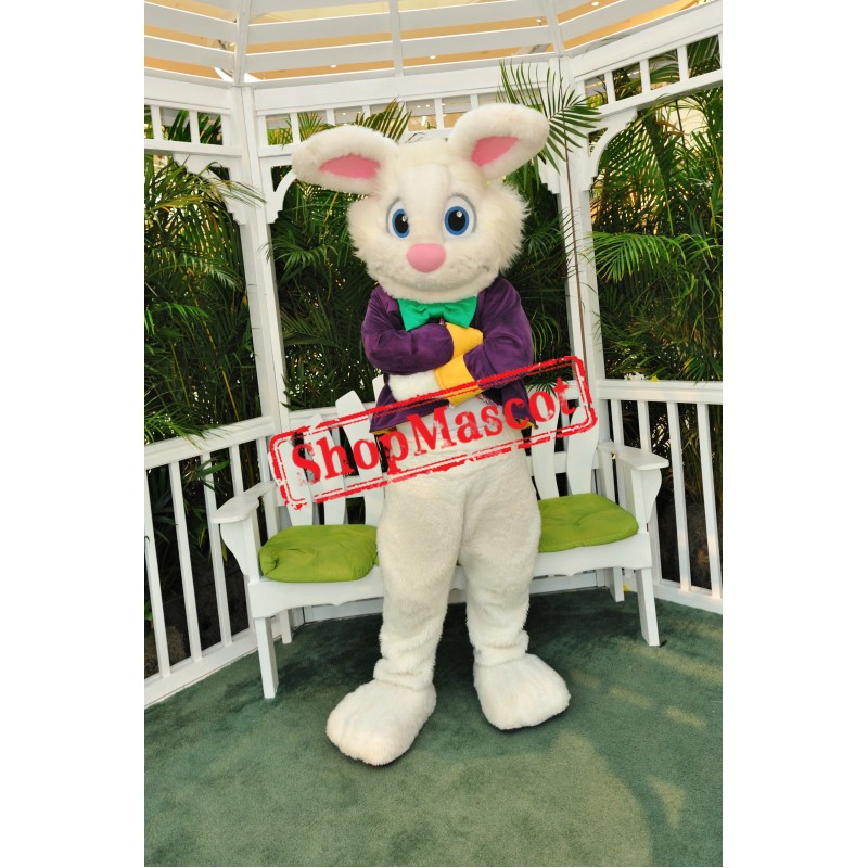 Superb Purple Suit Easter Bunny Mascot Costume