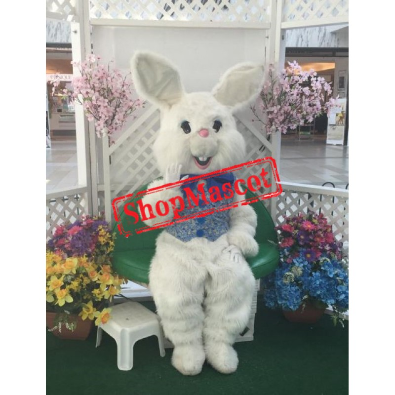 Friendly White Easter Bunny Mascot Costume