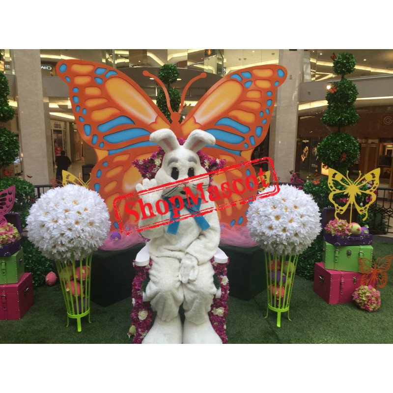 Happy White Easter Bunny Mascot Costume