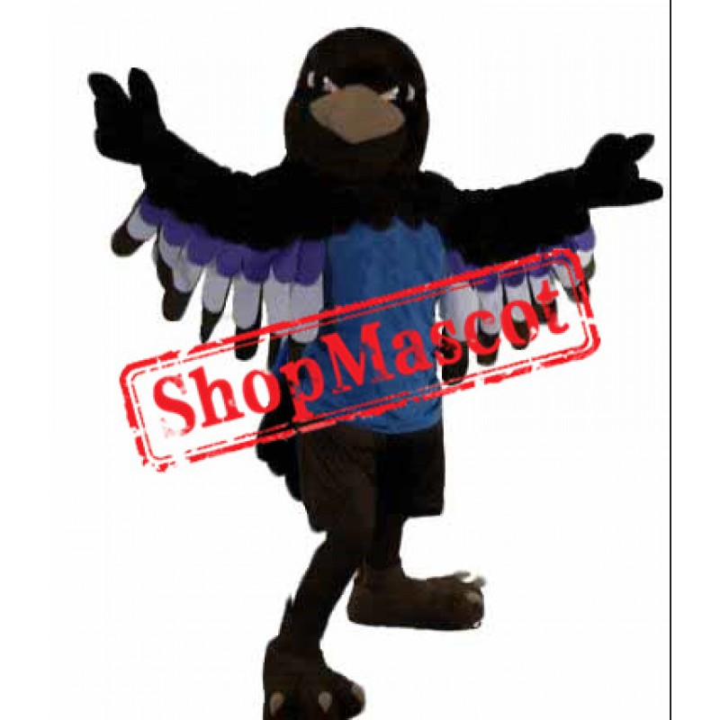 Superb Black Hawk Mascot Costume
