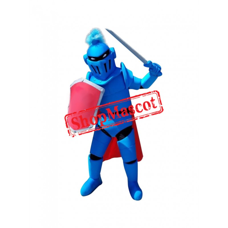 Power Blue Spartan Knight Mascot Costume