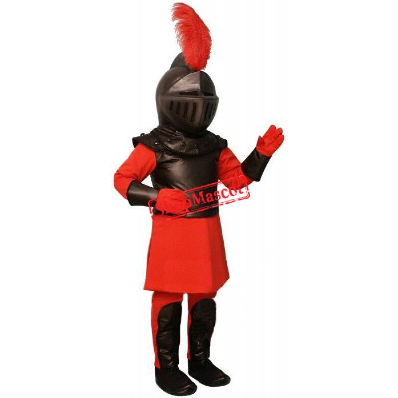 Superb Red & Black Knight Mascot Costume