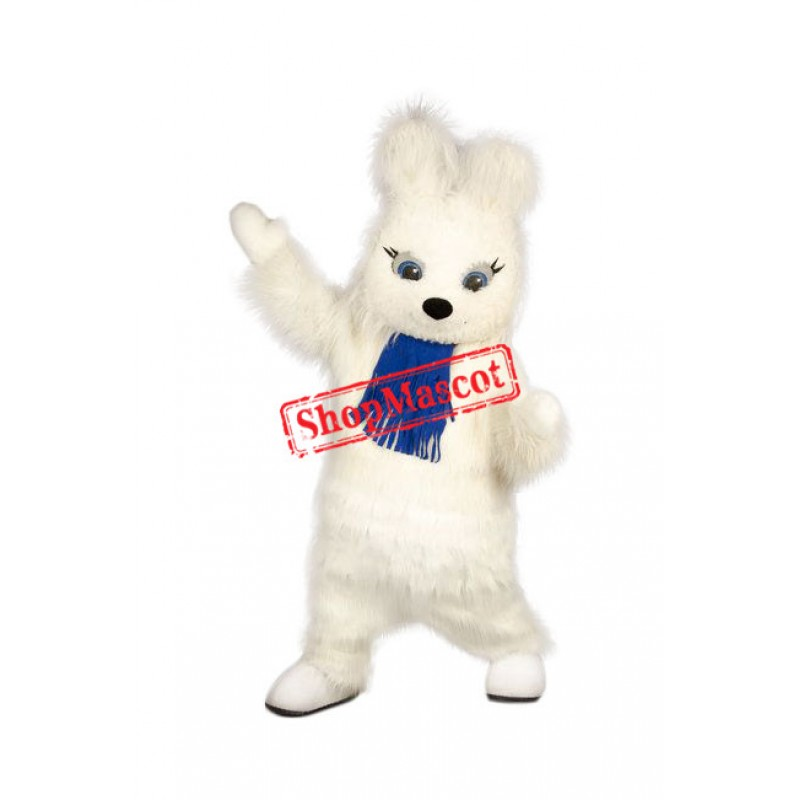Friendly White Rabbit Mascot Costume