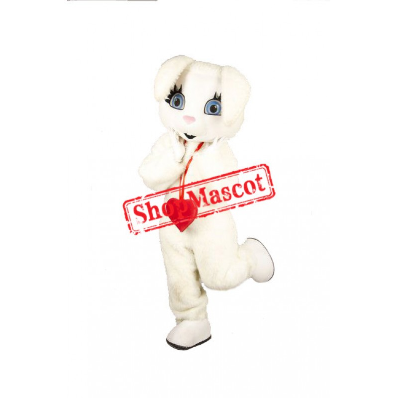 Red Heart White Rabbit Mascot Costume