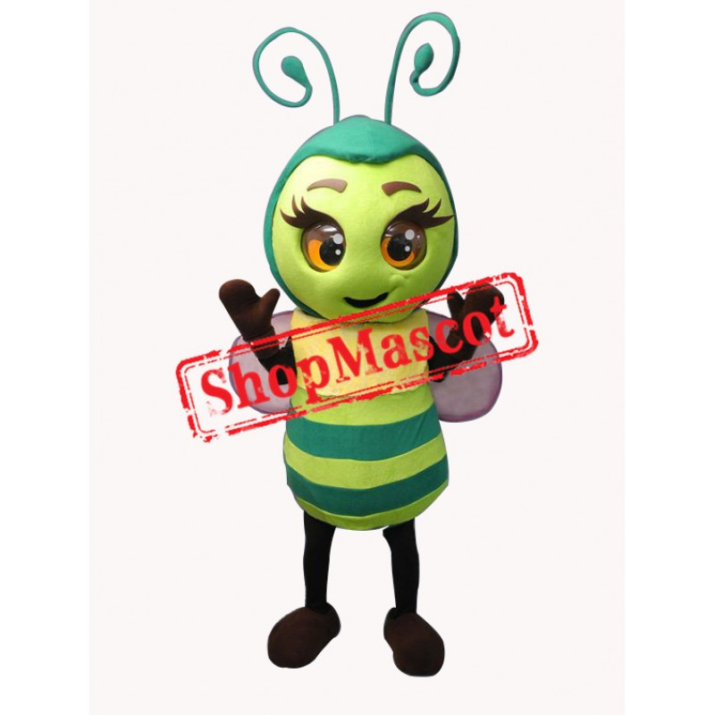 Superb Green Bee Mascot Costume