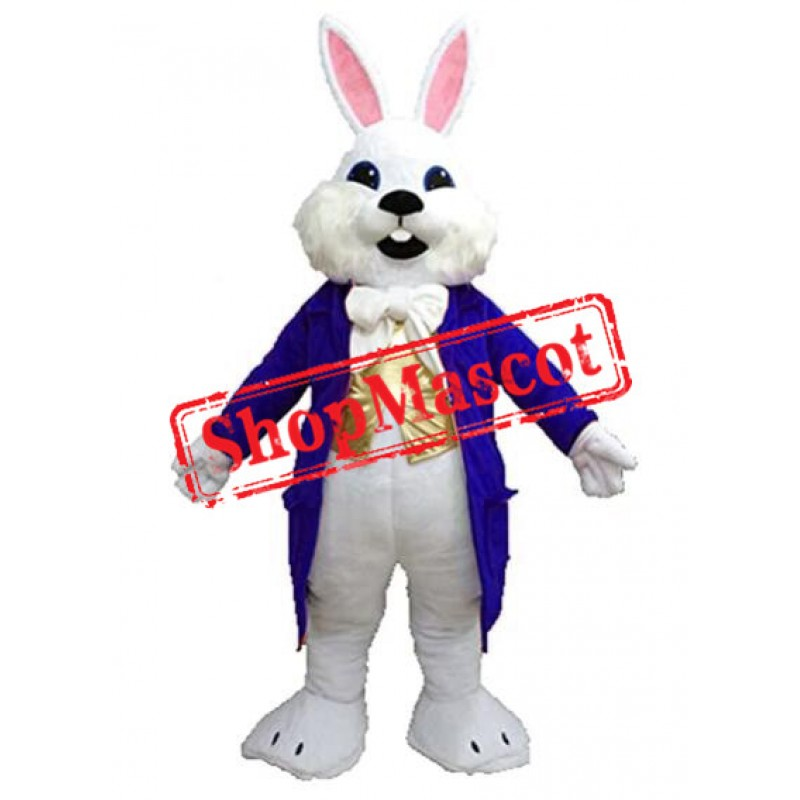 Blue Suit Easter Bunny Mascot Costume Available In US Warehouse