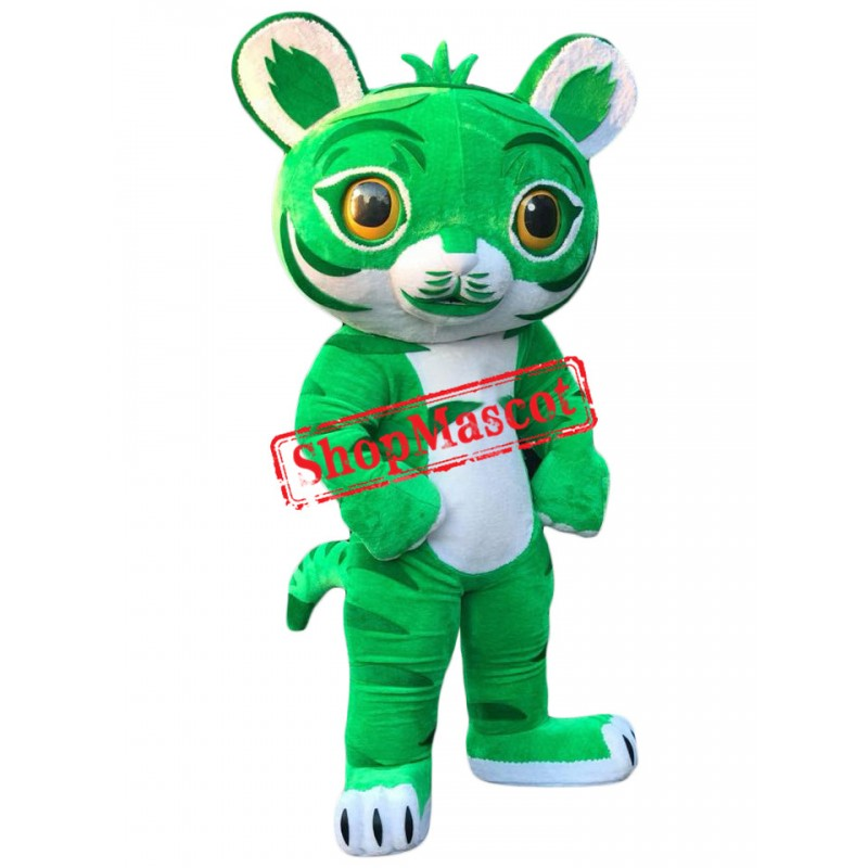Lovely Green Tiger Mascot Costume