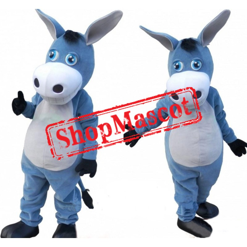 Cute Blue Donkey Mascot Costume