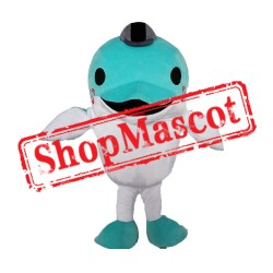 Cheap Blue Lightweight Dolphin Mascot Costume