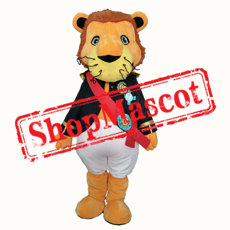 Badge Soldier Lion Mascot Costume