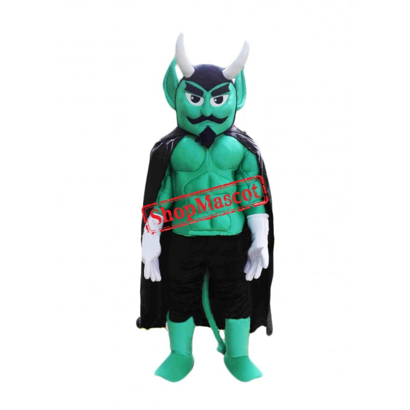 Green Power Muscular Devil Mascot Costume