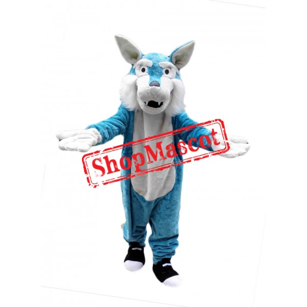 Cheap Blue Wolf Mascot Costume