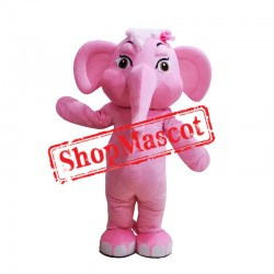 Super Cute Pink Elephant Mascot Costume