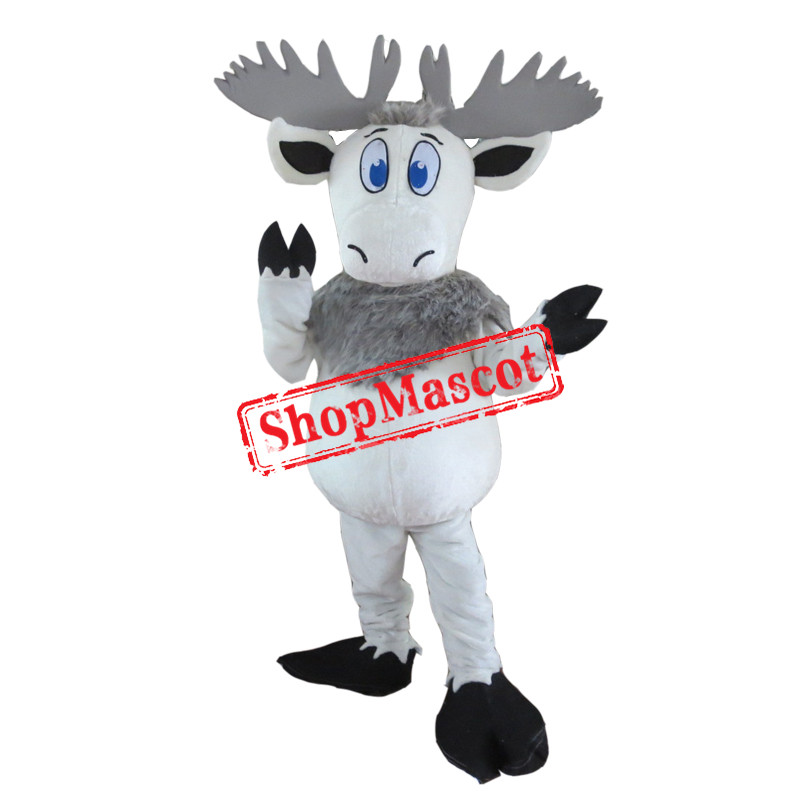 White Moose Mascot Costume