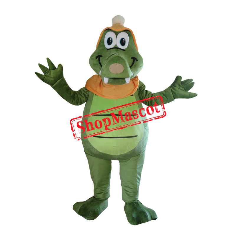 Cute Adult Green Crocodile Mascot Costume