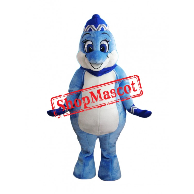 Super Cute Blue Dolphin Mascot Costume