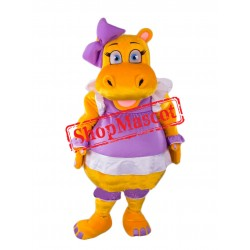 Beautiful Yellow Hippo Mascot Costume