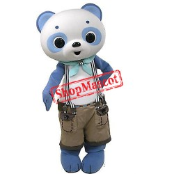 Blue & White Panda Mascot Costume