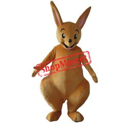 Happy Lightweight Yellow Kangaroo Mascot Costume