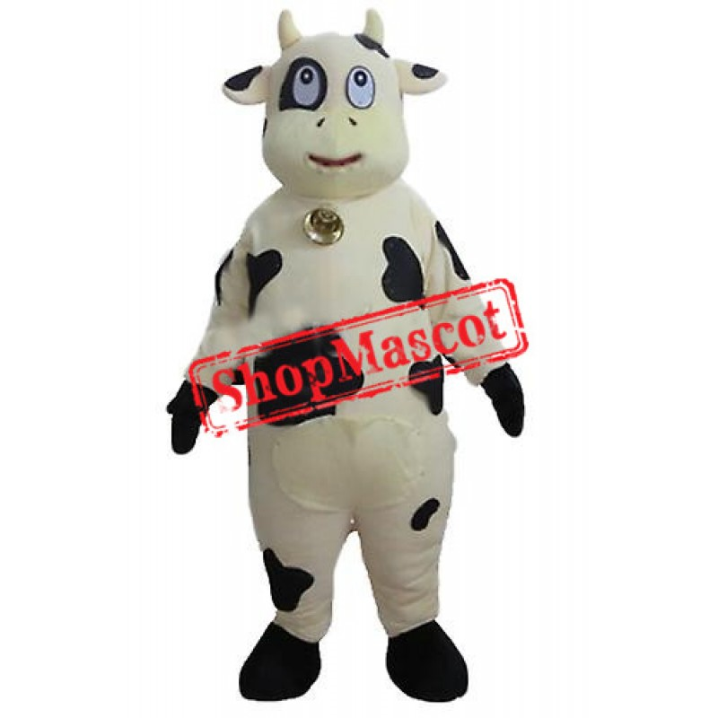 White and Black Cow Mascot Costume