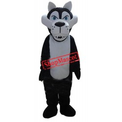 Cheap White Black Wolf Mascot Costume