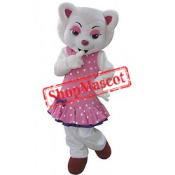 White Beautiful Wolf Mascot Costume
