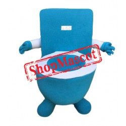 Blue Toilet Mascot Costume