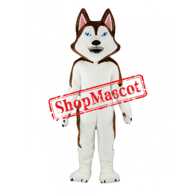 Brown & White Husky Dog Mascot Costume