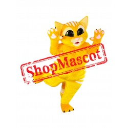 Cute Yellow Cat Mascot Costume