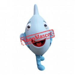 Super Cute Blue Fish Mascot Costume
