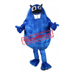 Cute Blue Beaver Mascot Costume