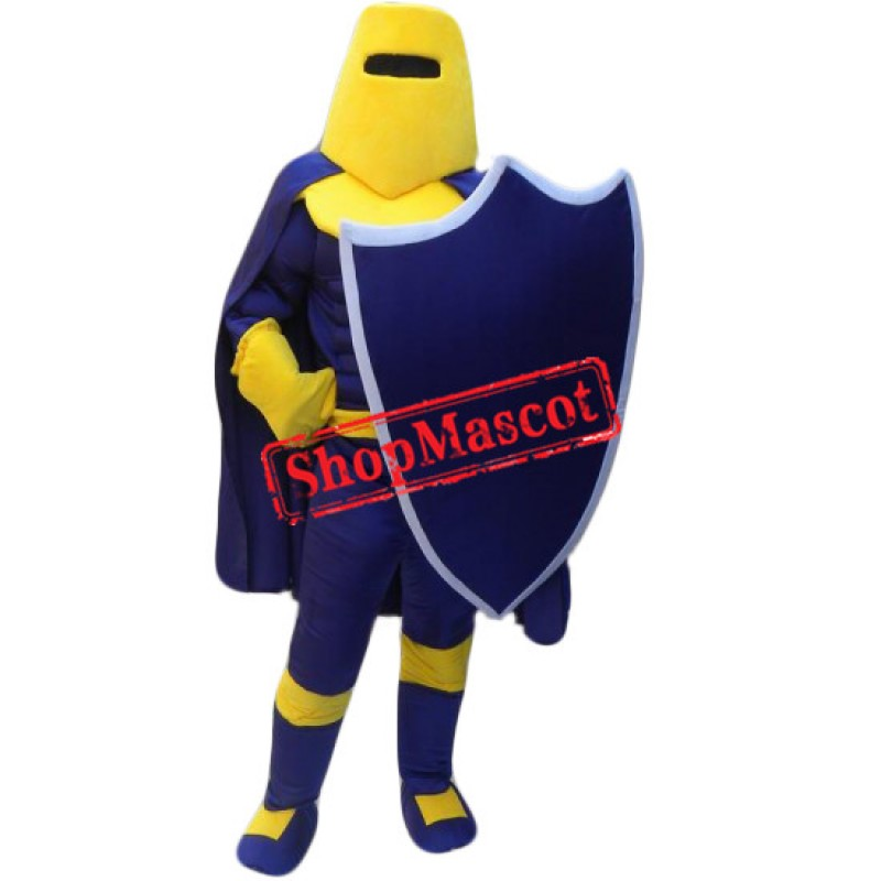 Blue & Yellow Knight Mascot Costume Free Shipping