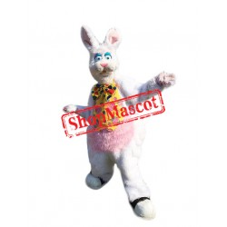 White Furry Rabbit Mascot Costume