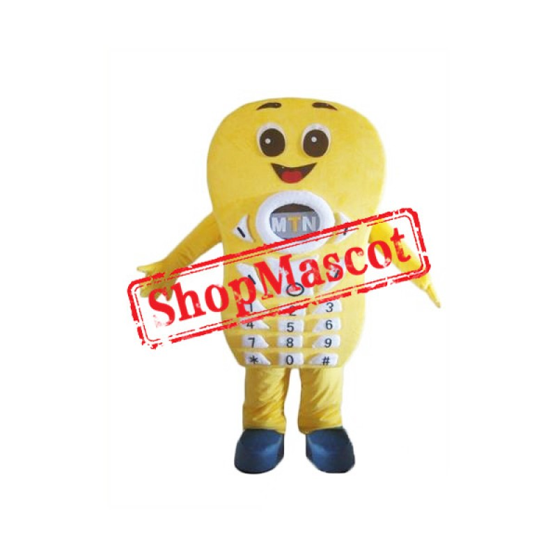 Smiling Yellow Telephone Mascot Costume