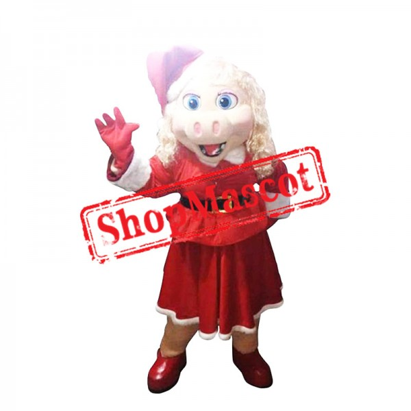 Christmas Miss Piggy Mascot Costume
