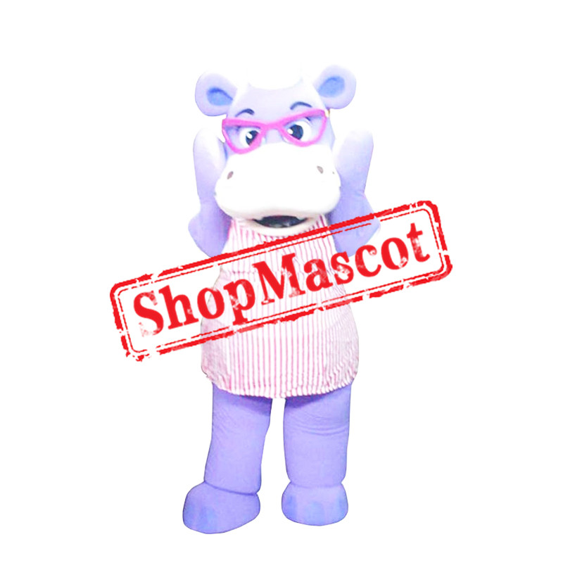 Purple Hippo Mascot Costume
