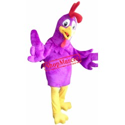 Purple Rooster Mascot Costume