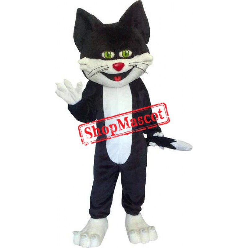 Super Cute Black & White Cat Mascot Costume